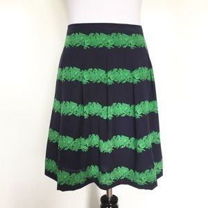 J. Crew Navy/Green Silk Skirt